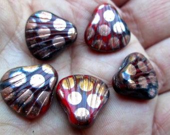 Vintage Glass Shell Beads with Gold Spots