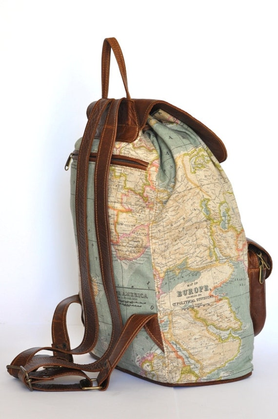 Wanderlust backpack genuine leather and world map atlas wanderlust backpack genuine leather and world map atlas print large backpack gumiabroncs Gallery