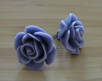 Large Purple Flower Earrings
