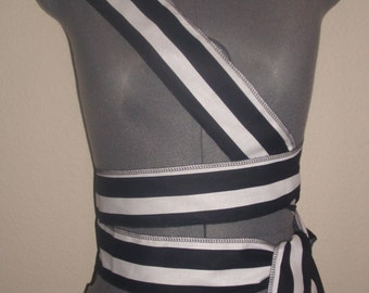 """New black and white cotton/poly SCA renaissance pirate sash costume costumes 134"""" by 3"""""""