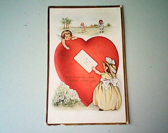 1914  SWEETHEART POSTCARD  Embossed Whitney One Cent Stamp