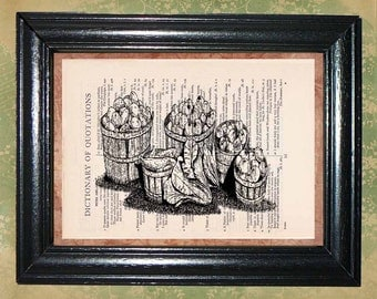 Picked Harvest Art Print - Vintage Dictionary Page Art Print - Beautiful Upcycled Book Page Art - Collage Sheet Art - Wall Decor