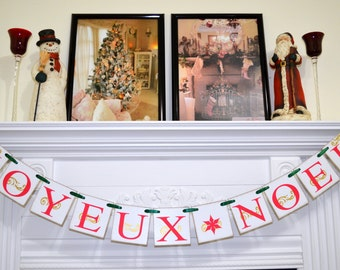 Christmas Banner JOYEUX NOEL, Christmas Garland Decoration, Christmas Banner, Noel Banner decor, Vintage Christmas