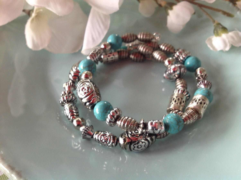 Turquoise bracelet turquoise jewelry memory wire bracelet - Bracelet original fait main ...