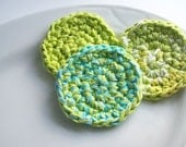 Crochet Cotton Face Scrubbies-Handmade-Gifts for Her-3 Lime and Turquoise Reusable Pads-Mountain Birds Bath Collection-Eco Friendly-Handmade