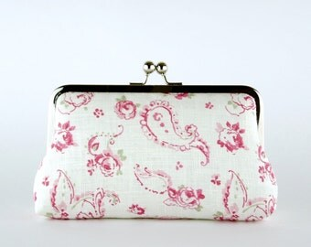 Bridesmaid Clutch, English Garden in Pink Clutch, Silk Lining, Bridesmaid Gift, Wedding clutch, Sage Green & Pink collection
