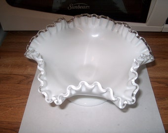 Antique Vintage Fenton Silvercrest Glass Footed Bowl, Milk Glass