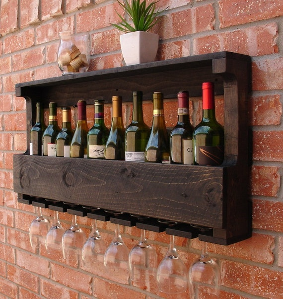 rustic 10 bottle wall mount wine rack with 8 glass slot hold