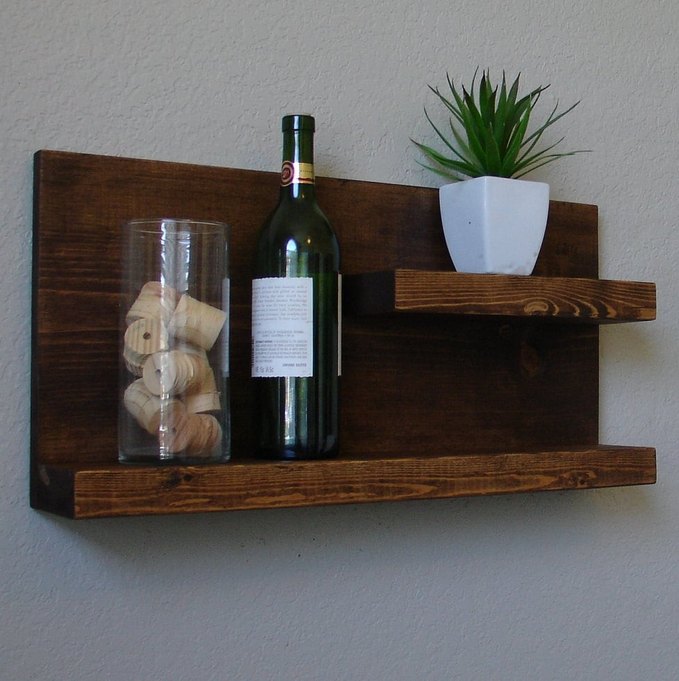 Rustic modern 2 tier floating shelf wall mount spice rack Modern floating wall shelves