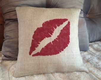 Custom made burlap kiss lips pillow cover/sham. Multiple sizes to choose.
