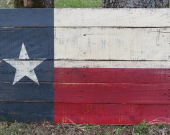 Texas State Flag - Hand Painted on Reclaimed Pallet Wood  - Wall Hanging