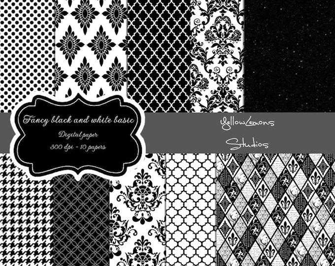 """Black digital paper: """"Black PATTERNS"""" black paper with moracccan tile, houndstooth, glitter, damask, honeycomb, quatrefoil, background"""