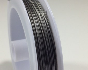 10 yd. Antique SIlver Steel Beading Wire .45mm