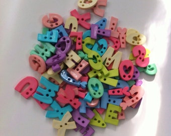 50 Alphabet Buttons - PASTEL colors - Mixed English Letters and Numbers  - Sewing/Scrapbooking/Children Arts Project
