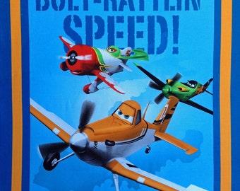 "Planes Let's Soar cotton panel -- approximately 35"" x 44"""