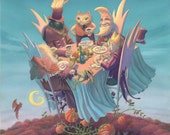 A Twilight Affair, a painting of a lovely dinner party high above a pumpkin patch in The Autumnlands