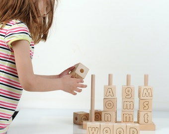 English Alphabet Blocks - Wooden Alphabet Blocks - Wooden Toy Stacker - Eco Friendly Educational Toy - English Letters