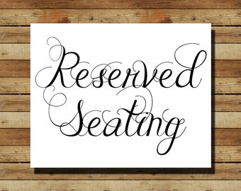 Instant Download Wedding Sign Quot Reserved Seating Quot 8x10 Sign