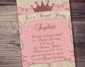 princess invitation, pink gold princess invitation, royal princess party, Princess Invitation, Digital Invitation, Royal Crown 5x7 (or 4x6)