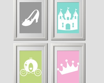 princess bedroom wall art prints, CUSTOMIZED COLOR princess wall art prints, crown, princess shoe print, princess castle print, carriage