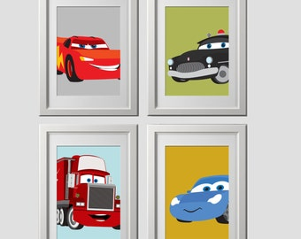 color customized, CARS wall print decor,  wall prints, set of 4, pick 4 characters, prints shipped to your door