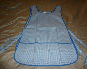 Blue and White Checkered Smock Apron