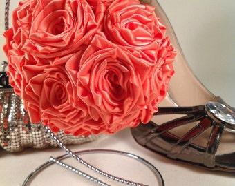 Coral Satin Rose Flowergirl Pomander Bouquet