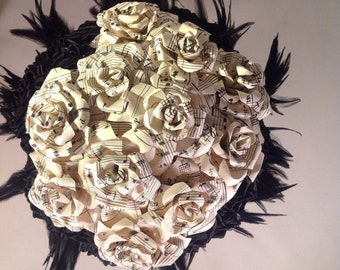 Couture Sheet Music And Black Satin Satin Rose Bridal Bouquet Accented with black feathers