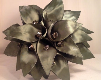 Custom Couture Green Green Satin Calla Lily Bouquet Accented With Ivory Satin, Champagne Crystals And Gold Wire