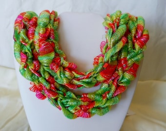 NEON Hand - Knitted Ribbon Yarn Skinny Scarf Necklace  Item #112