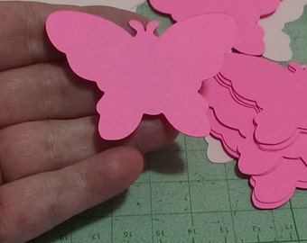 Bright Pink Paper Butterflies Place Cards, Cutouts Wedding ,Baby Shower, Die Cuts, Scrapbook Embellishments Decorations Set of 24