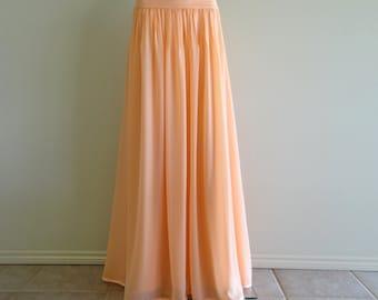 Peach Bridesmaid Skirt. Floor Length Skirt