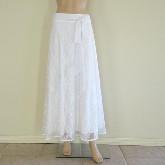 Long White Lace Skirt