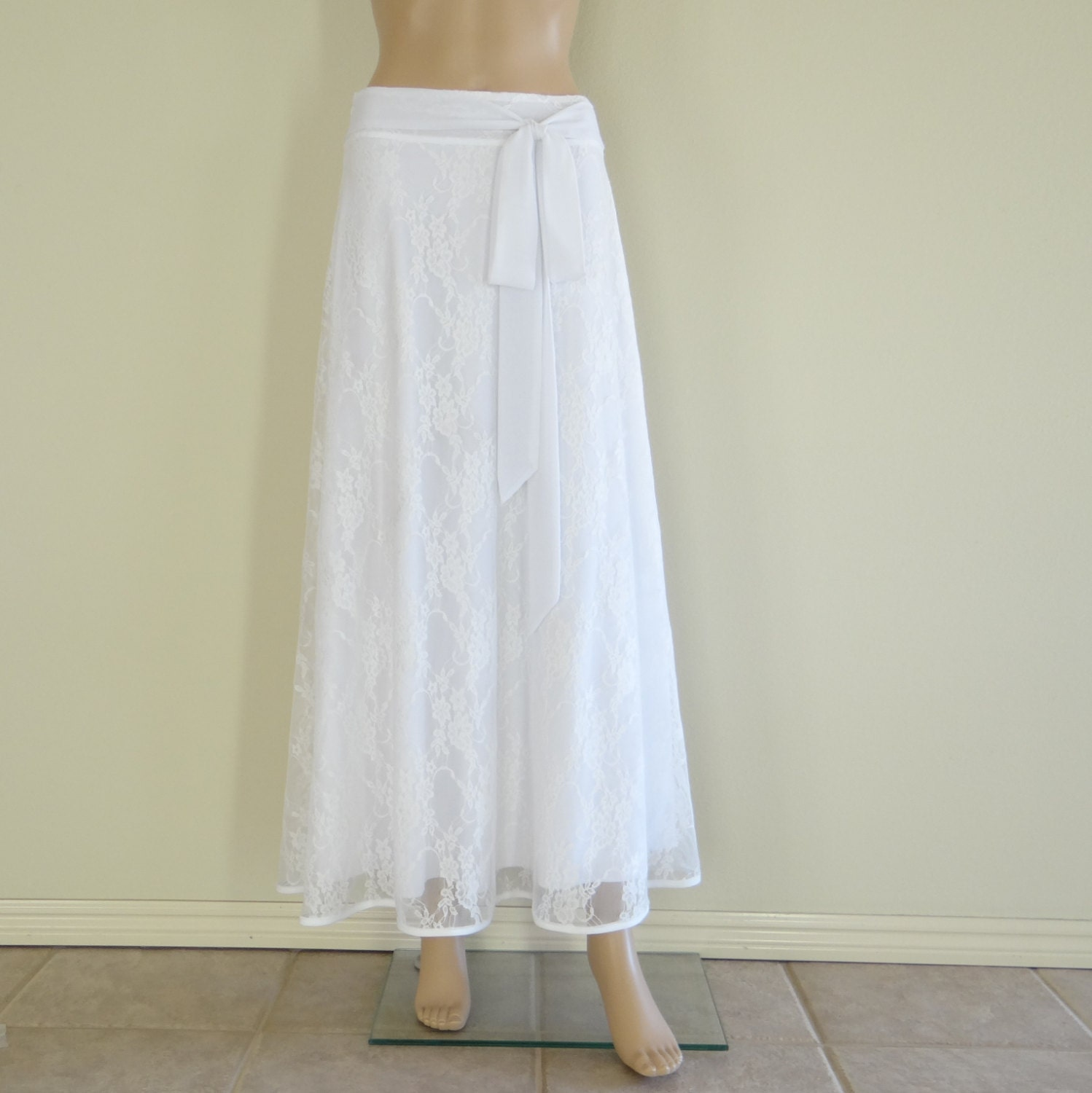 Lace Long Skirt. White Maxi Skirt