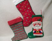 Vintage Handmade Christmas Stockings, Santa Stocking - RoseThrones