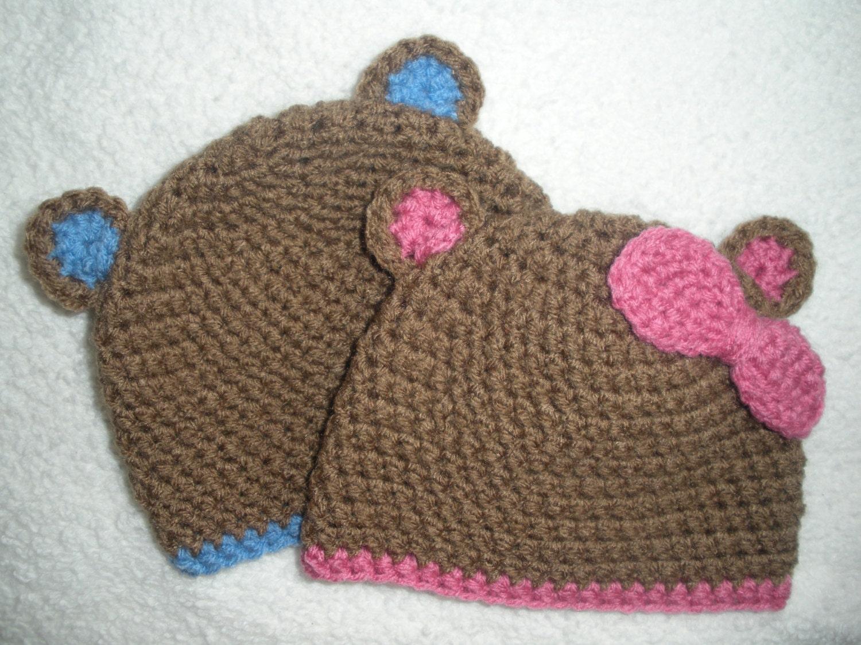 Crochet Hat Patterns For Twin Babies : Twin baby bear hats crochet twin hat twin baby gift brown
