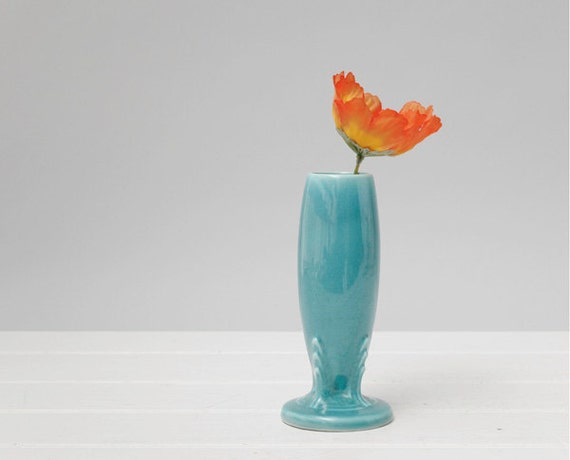 Vintage Turquoise Fiesta Bud Vase Fiesta Vase Turquoise Blue