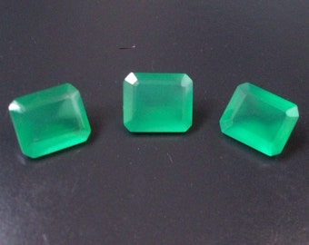 8x10 or 10x12 mm AAA quality natural GREEN ONYX octagon cut faceted.... have lots of gorgeous beautiful green color