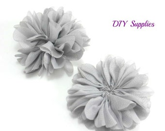 Gray chiffon flower - 2.5 inch fabric flower - Ballerina ruffle flower - wholesale flowers - hair flower - appliqué flower