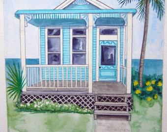 Little House & Seashell #10, original watercolor landscape painting