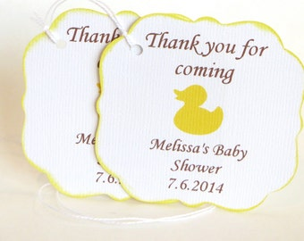 Rubber Ducky Baby shower thank you tags, Rubber Duck baby shower favor tags, Yellow baby shower gift tag, Thank you for coming