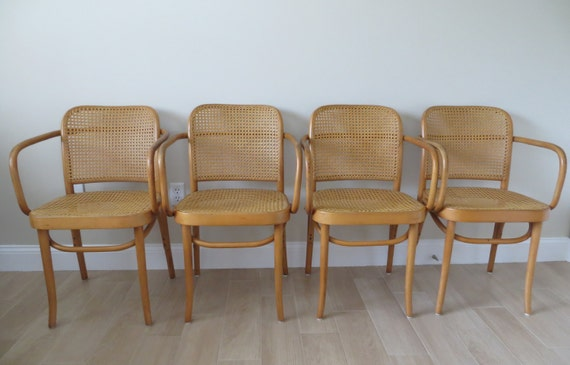 vintage mid century prague thonet cane bentwood arm chairs. Black Bedroom Furniture Sets. Home Design Ideas