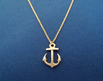 Marine, Anchor, Gold, Necklace, Cute, Dainty, Minimal, Nautical, Jewelry, Birthday, Friends, Sister, Gift, Jewelry