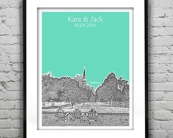 Middlebury Vermont Wedding Guest Book Poster Print -City Skyline VT