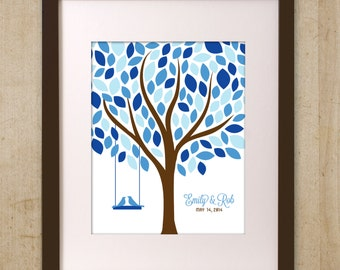 Custom Wedding Guest Book Alternative Guestbook Tree Personalized Wedding Gift Printable in Blue and Brown