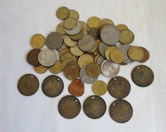 Money, Coins, International, Pile of Foreign Monies - Mostly Mexico- Some with holes to make Jewelry
