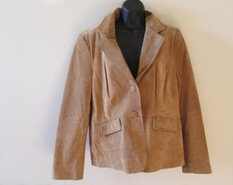 Leather,  Suede Jacket - Coats - Blazers - Liz & Co Tan - Size X-Large - Beautiful-Stylish-Warm!