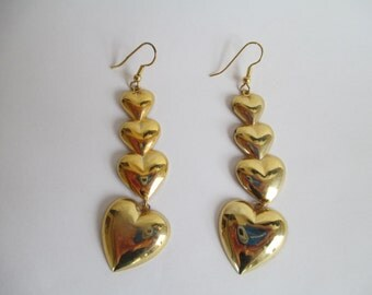Heart Earrings, Hearts, Classic, Early 1990s.  Pretty Dangle Earrings - About 3 ""