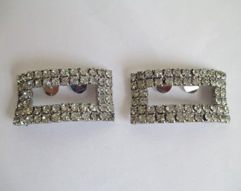 Shoe Clips - Vintage Rhinestone - No Rhinestones are Missing - Wedding or Church or Other - FREE SHIPPING