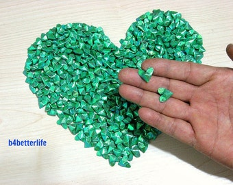 365pcs Green Color Mini Size 3D Origami Hearts LOVE. (TX paper series). #FOH-124.